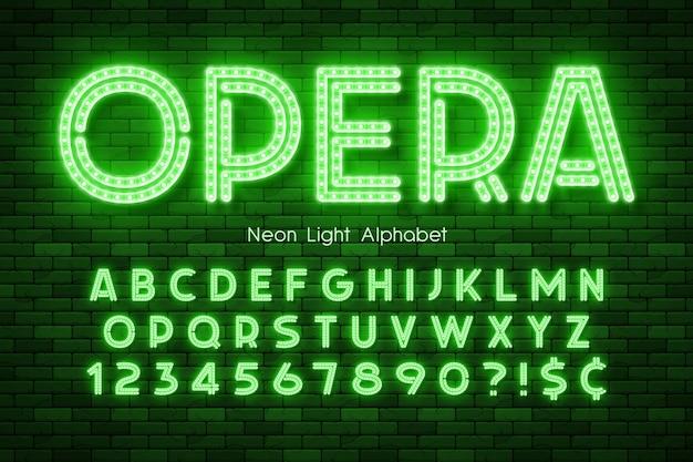 ネオンのアルファベット、余分に輝くフォントを導いた。