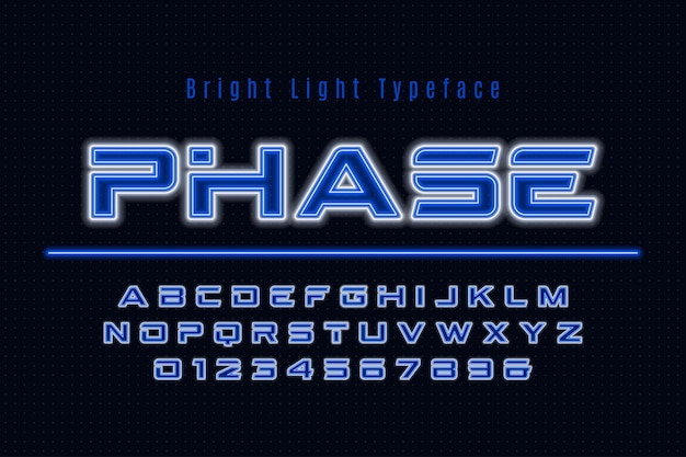 Неоновый свет алфавит, разноцветный дополнительный светящийся шрифт.