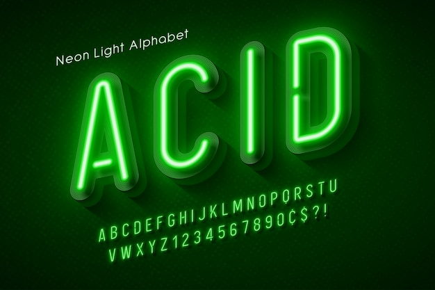 Neon light alphabet multicolored extra glowing font.
