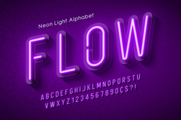 Neon light alphabet, multicolored extra glowing font.