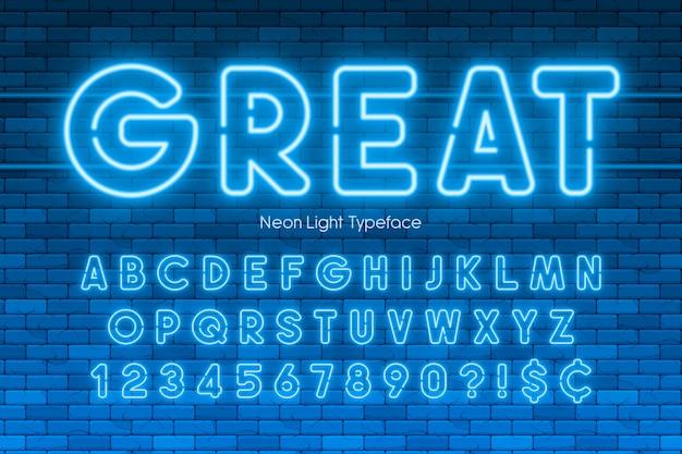 ネオンライトアルファベット、数字、余分な輝くフォント