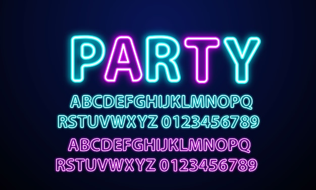 Neon light alphabet party neon font.