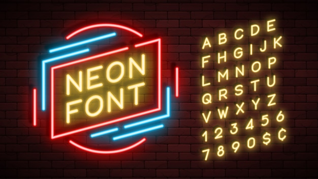 Neon light alphabet, realistic extra glowing font