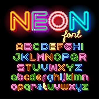 ネオンライトアルファベットベクトルフォント。暗い背景にネオン管の文字。大文字と小文字のセット