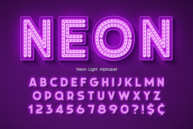 Neon light  alphabet, .
