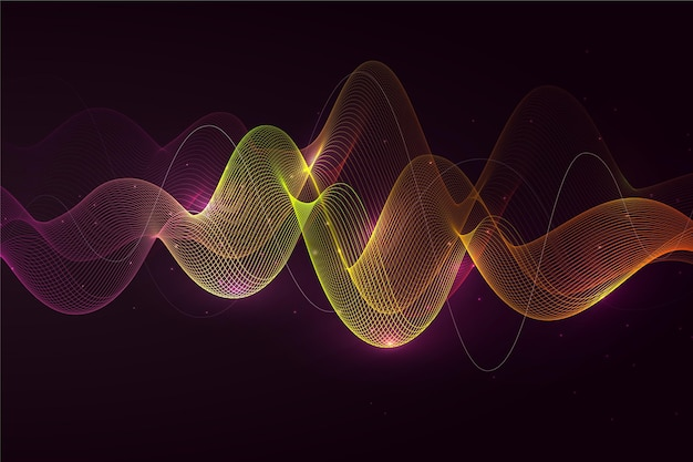 Neon light background with waves
