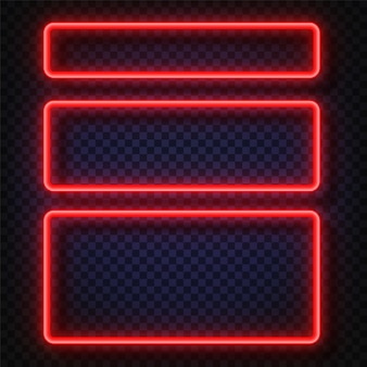 Neon light banners set. vector neon light frame sign.