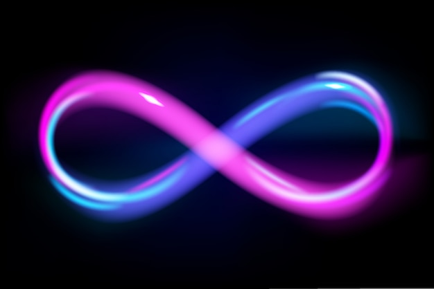 Neon light blue and violet infinity symbol on black