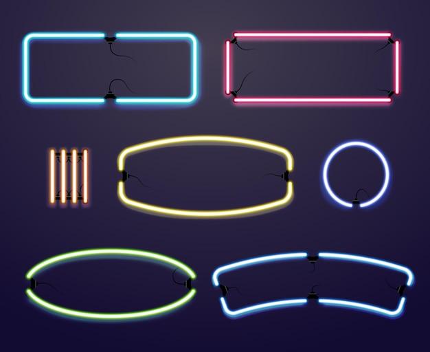네온 불빛 테두리. 조명 된 프레임, 광고 일러스트레이션을위한 밝은 선