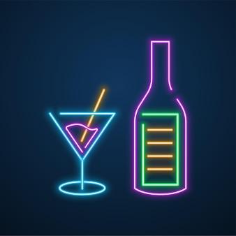 Neon light bottle party vector