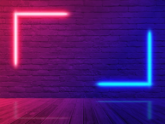Neon light brick wall room