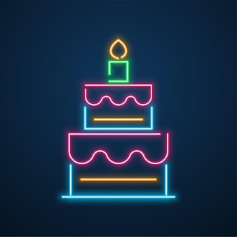 Neon light cake party vector
