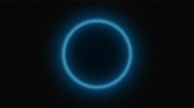 미래의 배경에 네온 빛 원 기술, 하이테크 디지털 및 통신 개념 디자인, 텍스트를 위한 여유 공간, 벡터 일러스트레이션.