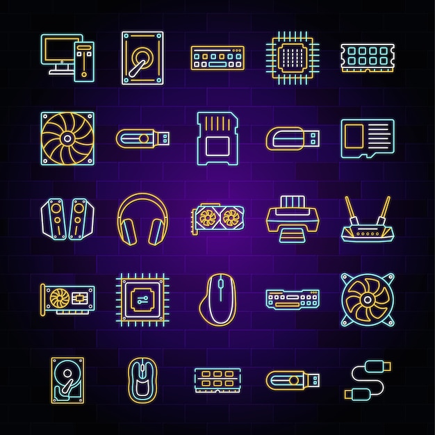 Neon light computer hardware icon set