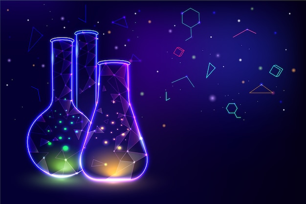 Neon light containers lab background