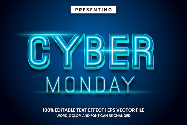Neon light cyber monday sign text effect