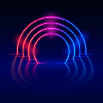 ネオンライトデザインディスコシーンの背景。ベクトルイラスト