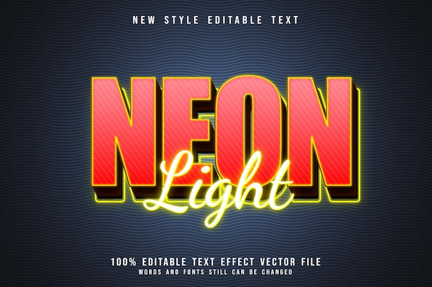 Neon light editable text effect 3 dimension emboss neon style
