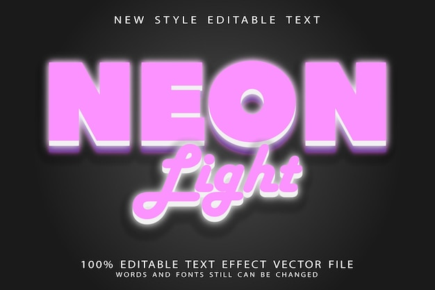 Neon light editable text effect emboss neon style
