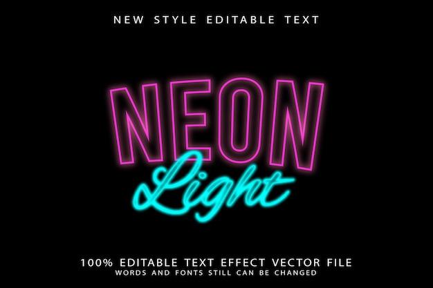 Neon light editable text effect neon style