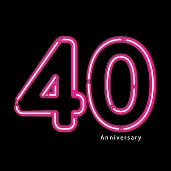 Neon light effect 40th year anniversary
