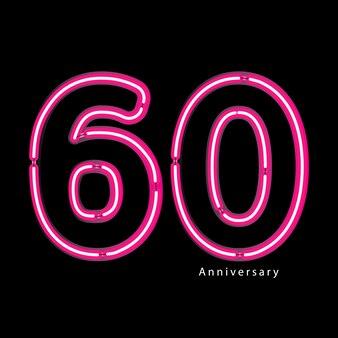 Neon light effect 60th year anniversary