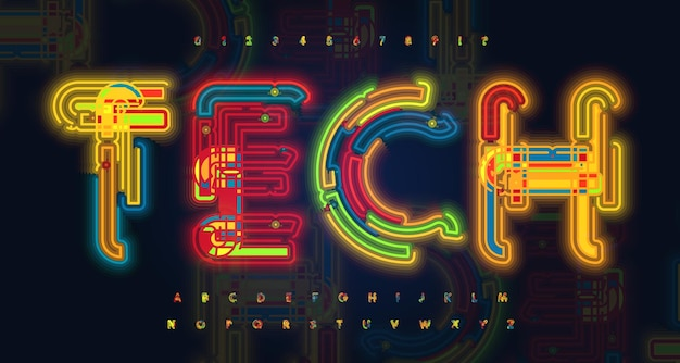 Hud 데이터를 위한 네온 라이트 글꼴 알파벳 및 등고선에서 밝은 발광 튜브 문자 연구
