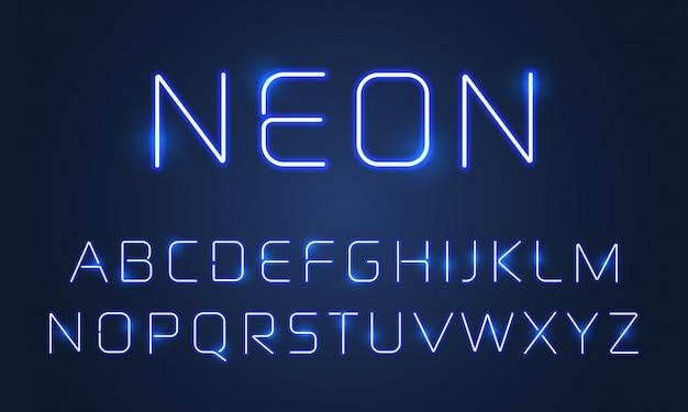 ネオンライトフォントアルファベット文字セット。