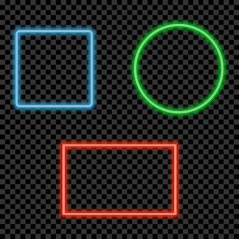 네온 라이트 프레임 세트입니다. 텍스트를 위한 공간이 있는 빛나는 밝은 테두리. 벡터 일러스트 레이 션.