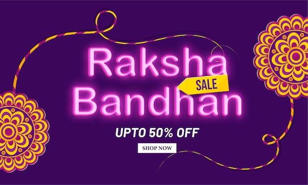 Neon light happy raksha bandhan sale concept design