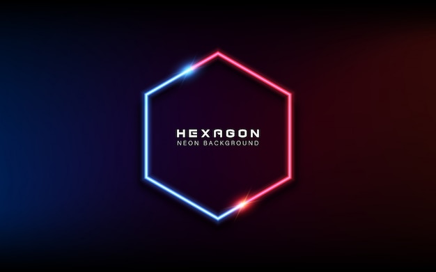 Neon light hexagonal banner background