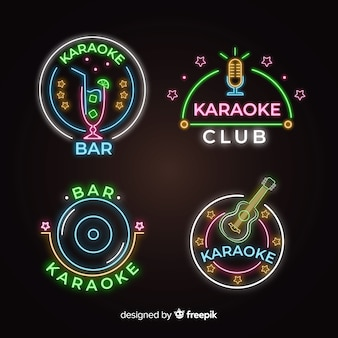 Neon light karaoke sign collection