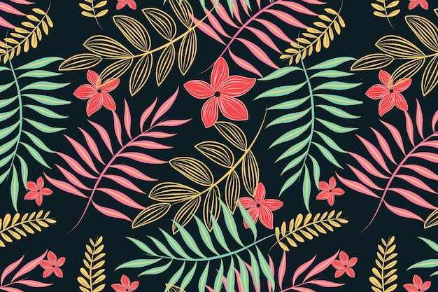 Neon light leaves floral seamless pattern