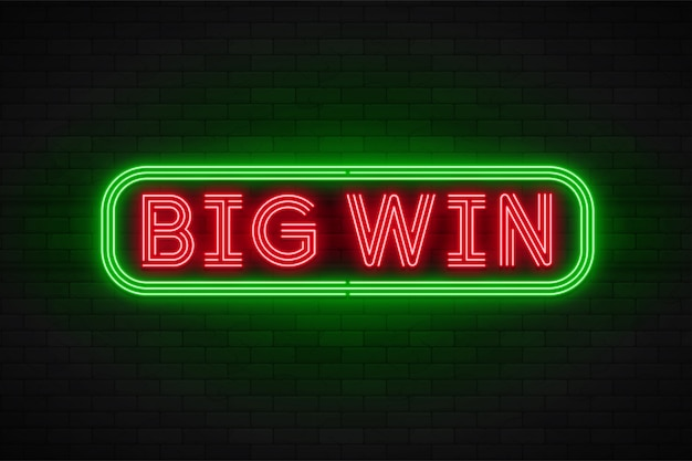 Neon light linear promotion banner,jackpot, game, big win.