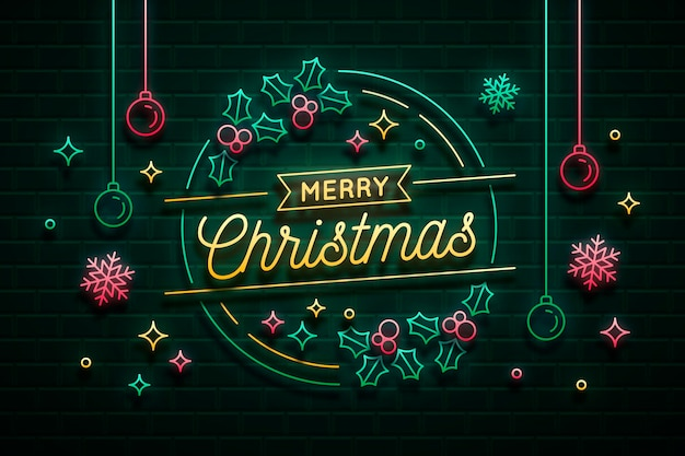Неоновый свет с рождеством христовым
