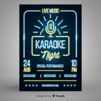 Neon light music poster template