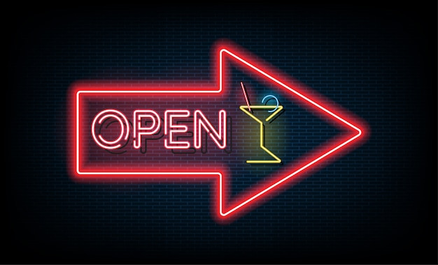 Neon light open signboard