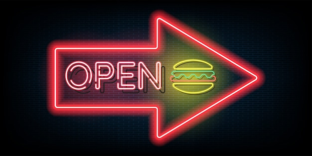Neon light open