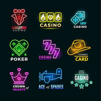 Neon light poker club and casino vector signs set