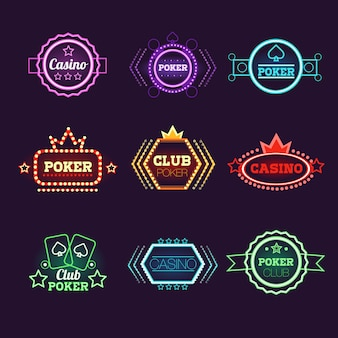 Neon light poker club and casino emblems set