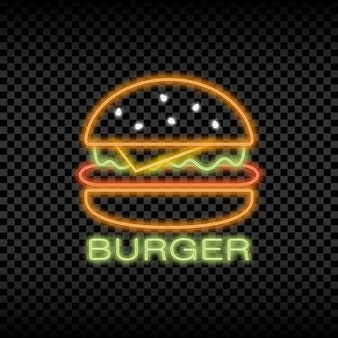 Neon light sign of burger cafe glowing and shining bright signboard of fast food logo