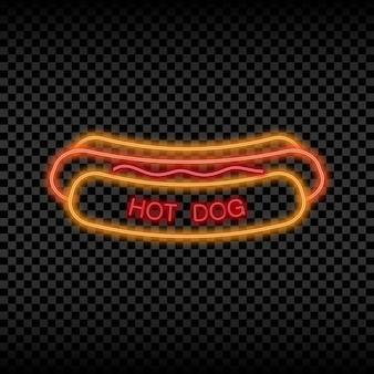 Neon light sign of hot dog cafe glowing and shining bright signboard of street food logo