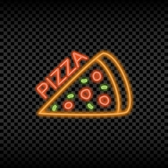Neon light sign of pizza cafe glowing and shining bright signboard for pizzeria logo