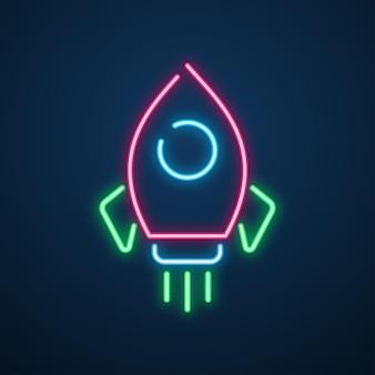 Neon light space rocket