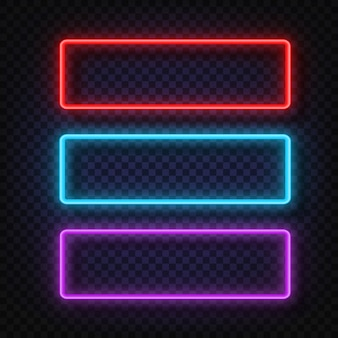 Neon light square sign.