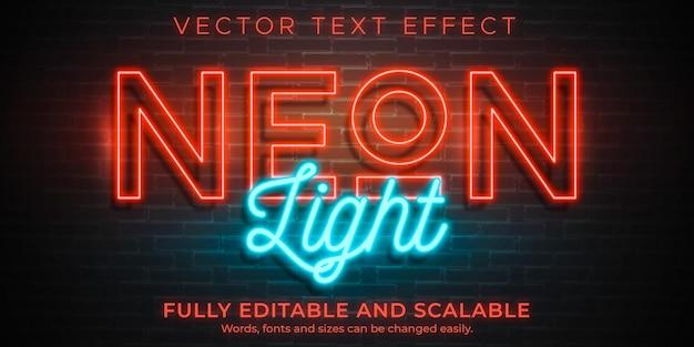 Неоновый свет текстовый эффект редактируемый ретро и светящийся текстовый стиль