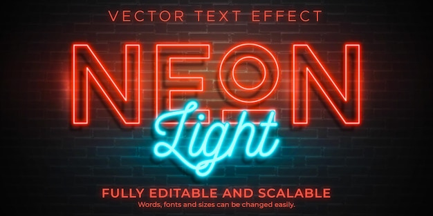 Neon light text effect editable retro and glowing text style