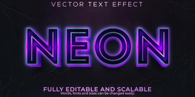 Effetto testo luce al neon, stile di testo modificabile retrò e luminoso