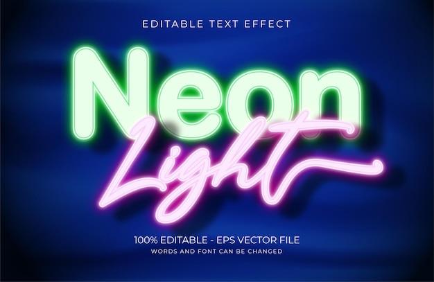 Текстовый эффект неонового света premium векторы