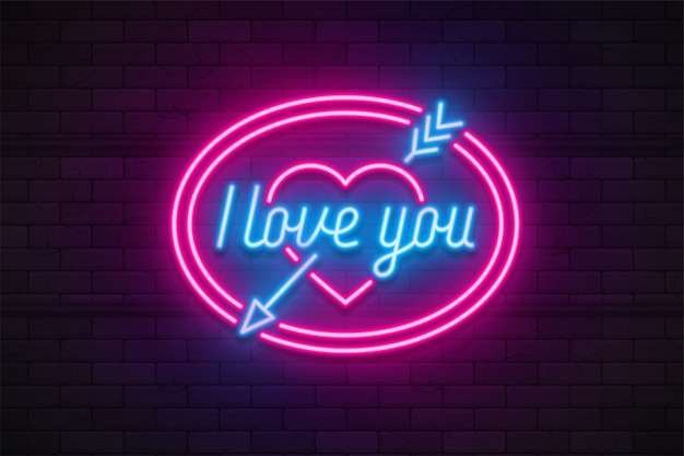 Neon light valentine's day i love you card